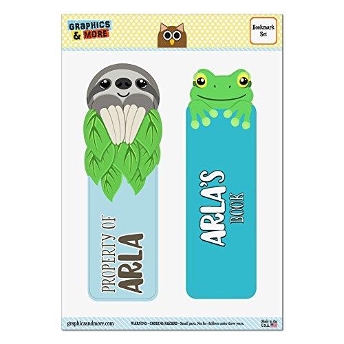lot-de-2-lamine-brillant-paresseux-et-grenouille-signets-noms-femelle-ap-as-arla