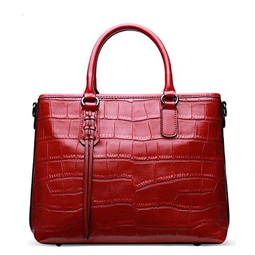 Qiwang Damen Handtasche aus echtem Leder, geprägt, Krokodil-Kreidsleder, Tragegriff, Schultertasche, Rot (rot), Large - Krokodil Geprägtes Leder Handtasche
