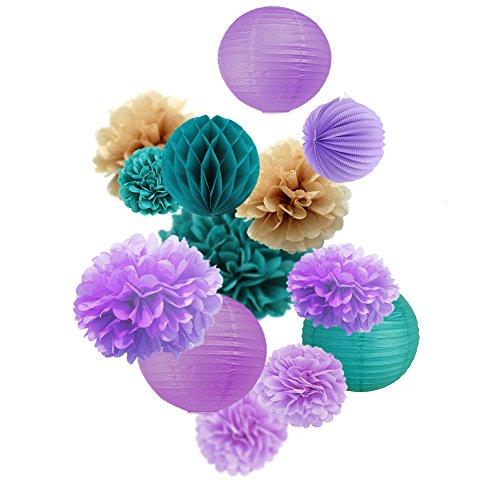 Easy Joy 13er Set Papier Dekoration Kit Lampion-Set Lila Pompoms - Violett Blaugrün Braun