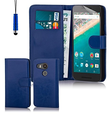 32nd® Schutzhülle handytasche im Brieftaschenstil aus PU-Leder, für LG Google Nexus 5X (2015), inklusive reinigungstuch und eingabestift - Blau