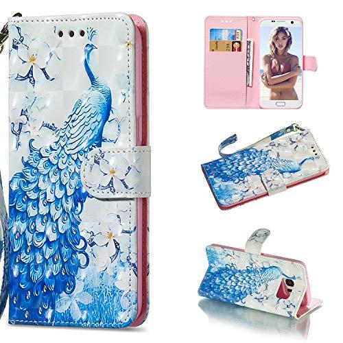 Carols Samsung Galaxy S7 Edge Cover, PU Premium Leather Silicone TPU Custodia Samsung Galaxy S7 Edge (5,5 Zoll) Flip Cuoio Cover - Pavone