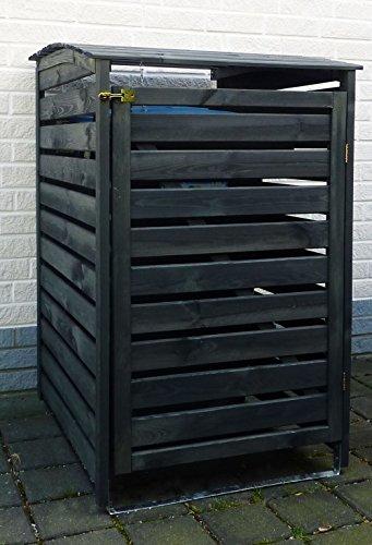 Mülltonnenbox schwarz 1 Tonne FSC Holz Verkleidung Mülltonnenverkleidung B-WARE