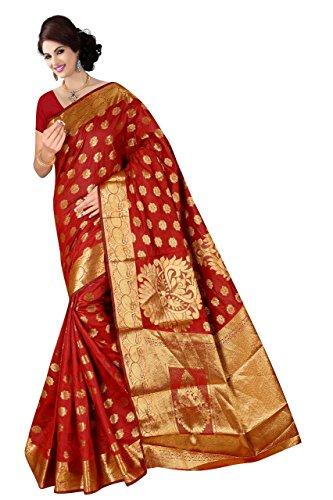 Boutique On Palm Bollywood Style New Generation Concept Party Wear Saree Banarasi Silk Sarees (Red Jacquard Rangoli Baahubali Butta)