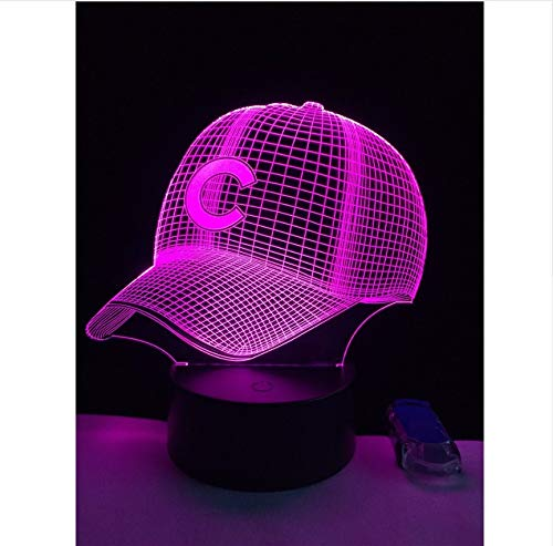3D Hut Baseball C Helmkappe Led Lampe Sport Club Team Logo Usb Controler Taschenlampe Tragbare Laterne Adapter Junge Spielzeug Licht Box Kindertagsgeschenke (Spielzeug Mit Licht Harten Hut)