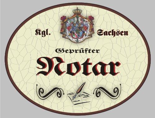 Holzschild Notar - Schild Sachsen (18 x 14 cm) (Notar Holz)