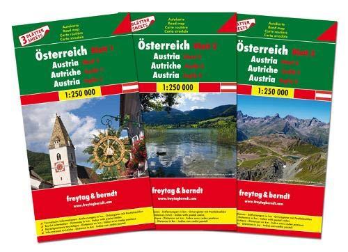 Österreich-Set, Autokarte 1:250.000, 3 Blätter in Kunststoff-Hülle, freytag & berndt Auto + Freizeitkarten: Wegenkaarten set 1:250 000