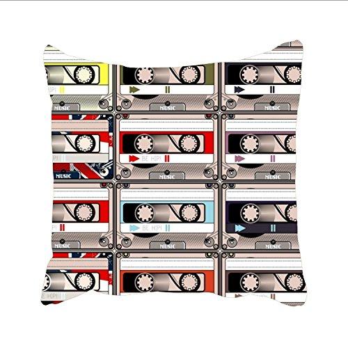 changchuan Doodle Kissen, quadratisch, dekorativ, modischer Stil, mit Reißverschluss, Baumwolle, Retro Hipster8, 26x26 -