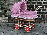 Bukora® Puppenwagen aus Weide mit Rot Weiß fein kariert und Holzgriff...extra stabil...