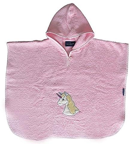 Morgenstern, hochwertiger Frottee - Bade - Poncho aus 100 % Baumwolle, Farbe rosa, Motiv Einhorn, Größe one size (ca. 1 bis 3 Jahre), Unicorn