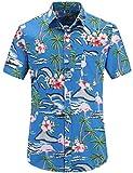 JEETOO Herren Sommer Regular Fit Kurzarm Shirts Segelschiff/Vogel/Blumen/Flamingos/Druck Freizeit Aloha Hawaii Hemd (X-Large, Blau_1)