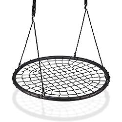 Relaxdays Balançoire nid d'oiseau maille filet 120 cm à suspendre ajustable enfant adulte jardin extérieur 150 kg, noir