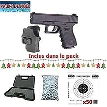 Galaxy G15+ Paquete de Navidad con pistola tipo Glock para airsoft, con pistolera rígida, de muelle, con recambio manual, maletín, balines y 50 blancos de regalo (0,4 J)
