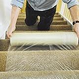 Yosoo Tappetino protezion pellicola autoadesiva di protezione in plastica per scale, pavimenti, tappeti runner,60cm x 100m