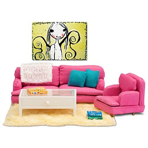 Lundby 60.2083.00 - Wohnzimmer, Minipuppen mit Zubehör, pink