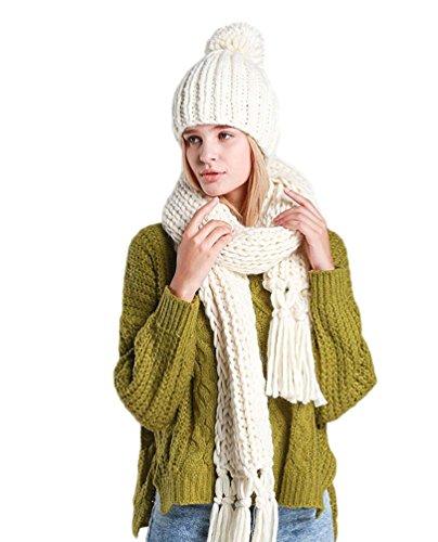 LvRao Damen Warme Winter Schal und Mütze Set Lang Quaste Schal Strick Bommel Gestrickter Mütze # Weiß