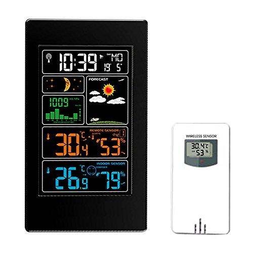 EXCELVAN Horloge Station Météo Sans Fil avec 5,8 Pouces LCD Couleur Ecran Avec Réveil 60m/200ft Distance de...