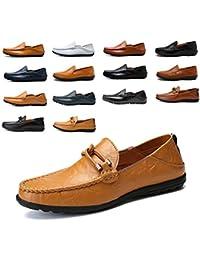 AARDIMI Mocasines Hombres Zapatos de Vestir Casuales Holgazanes Slip On Verano Plano Cuero Zapatos de Conducción Zapatillas 38-47…