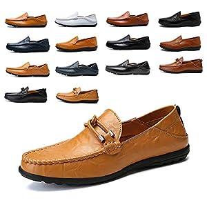 AARDIMI Herren Mokkasins Slip on Casual Männer Loafers Frühling und Herbst Herren Mokassins Schuhe aus echtem Leder Herren Wohnungen Schuhe schwarz
