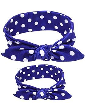 Kanggest 2Pcs Multi-Modelado Madre-Niño Conejo Orejas Banda Bowknot Hairband Turbante Accesorios para Bebé y Mamá...