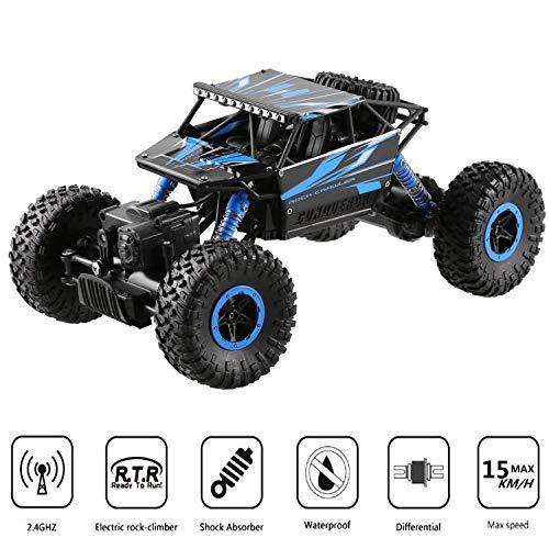Profun RC Auto 4WD Fernsteuerung 2.4GHz 1/18 Skala Spielzeug Fahrzeug mit, High Speed Spielzeugauto Fahrzeug, Buggy Auto, Funk-Fernbedienung Auto Spielzeug für Kinder, Blau