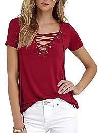 Shujin Damen Sommer T-Shirt V-Ausschnitt mit Schnürung Bandage Vorne  Kurzarmshirt Bluse Lässig 6cbd55d79f