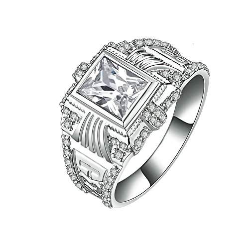 (Custom Ringe)Adisaer Ring 925 Sterling Silber Damen Rechteck Kristall CZ Strass Graivert Muster Verlobungsring Größe 61 (19.4) Kostenlos Gravur (Pharao Kostüm Muster)