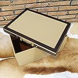 Pinjeer Kaffee Farbe Samt Haut Aufbewahrungsbox Modell Zimmer Garderobe Moderne minimalistischen Schlafzimmer Wohnzimmer Weiche Dekoration Dekorative Holzkiste mit Deckel (Größe : M)
