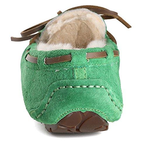 OZZEG Confort décontracté école en cuir plates mocassins féminin chaussures doublure en peau de mouton Vert