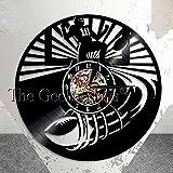 Njuxcnhg Horloge Murale Disque Vinyle-Football américain Horloge Murale Rugby Football Vintage Sport Design Moderne Horloge décorative Montre Murale Cadeau