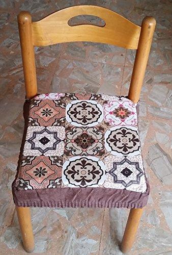 Intimodagiovanni n.6 cuscini coprisedia quadrati universali sfoderabili con zip cementine maiolica marrone