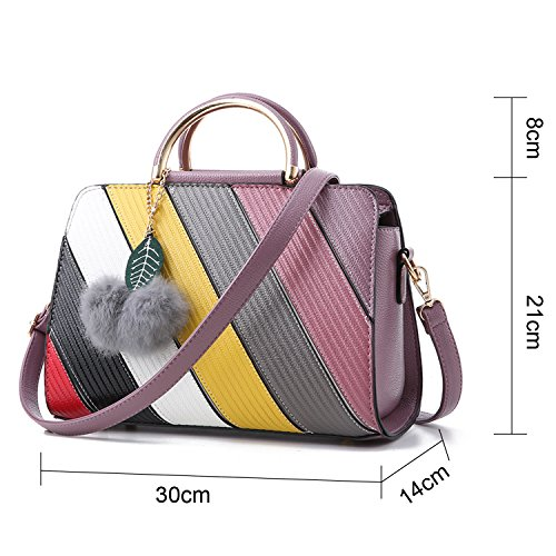 BYD - Pell Donna Handbag borsa a Spalla Borse a mano Tote Bag Shoulder Bag con maniglia in metallo Viola