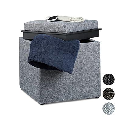 Relaxdays Sitzhocker mit Stauraum, HxBxT: 42 x 40,5 x 40,5 cm, Aufbewahrungsbox, Leinen Optik von Relaxdays - Gartenmöbel von Du und Dein Garten
