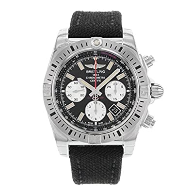 Breitling Men's Chronomat 44 44mm Black Canvas Band Steel Case Automatic Analog Watch AB01154G-BD13MS