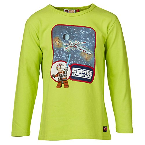Preisvergleich Produktbild LEGO Star Wars Empire Strikes Back Longsleeve Longshirt Kinder neongrün mit Luke X Wing Tie Fighter - 140