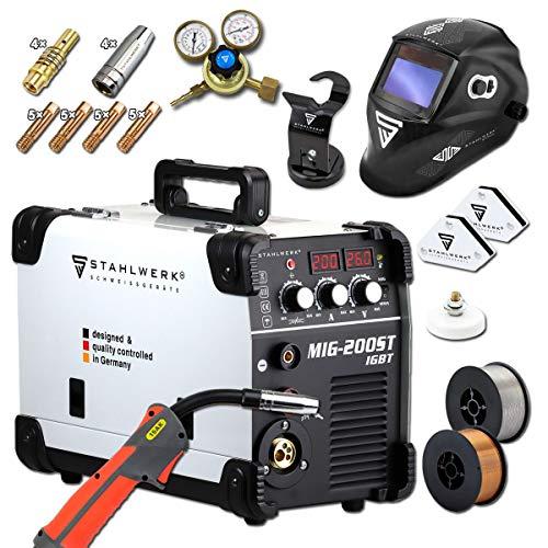 Ofertas STAHLWERK MIG 200 ST IGBT - Equipo de soldadura de gas de protección MIG MAG con 200 amperios, alambre de relleno FLUX, con MMA E-Hand, color blanco