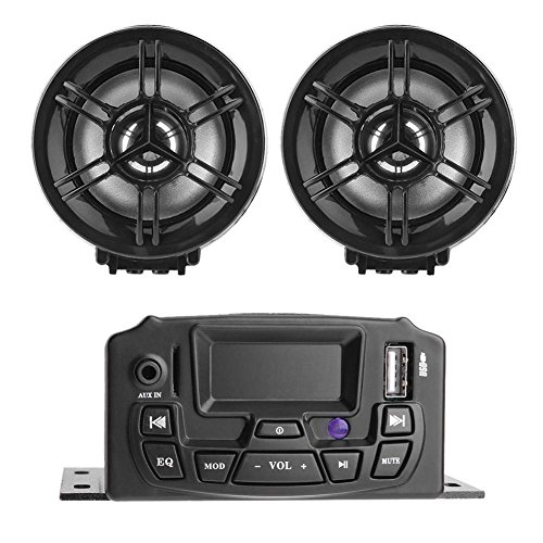 Asiproper LCD Display Motorrad 2-Speaker Stereo Sound System MP3-Audio FM Radio