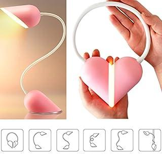 OULII Licht des Buch-Dimmable LED Herz-Schreibtisch zusammenklappbar tragbar mit 3Modi von Leichtigkeit Batterie/Akku-Sensor-Touch mit 14LED Lichter Geschenk für Liebhaber (Pink