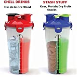 Bridge2Shopping Double Separated Protein Shaker Bottle - 700 Ml ( 350+350 Ml Each Compartment ) / 24 Oz ( 12+12 Oz Each Compartment) - Color May Vary