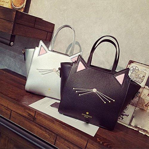 BYSTE Grande Capacità borsetta Lovely Donna Orecchio di gatto Borsa a tracolla Messenger Bag Argento