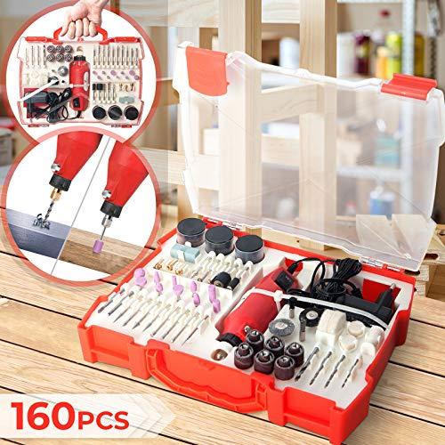 Mini-Schleifer Multifunktionswerkzeug Set mit Zubehör - 12000 U/min, 12v, 160 Aufsätze, Kunststoffbox - Mehrzweckschleifmaschine, Drehwerkzeug für Holz Metall