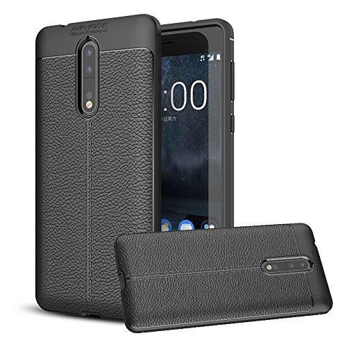 Nokia 8Coque, Bt-share fin léger flexible Coque souple en silicone résistant aux chocs anti-rayures Housse de protection cuir Texture Skin pour Nokia 8(2017)