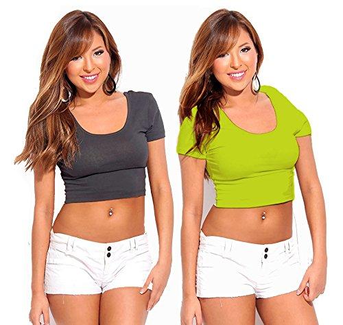Fashion Line Cotton Lycra Crop Tshirt for Girls/Women (Grey & Green, Pack of 2)