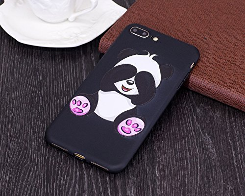 Silicone Custodia per iPhone 7 Plus/iPhone 8 Plus (5.5), EUWLY Colorato 3D Modello Style Protettiva TPU Custodia Cassa per [iPhone 7 Plus/iPhone 8 Plus (5.5)], Nero Protettiva Cover Case Ultra Sotti Panda