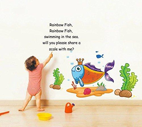 (ZigRocket Regenbogen Fisch Regenbogen Fisch Gedicht DIY Wandaufkleber Entfernung Vinyl Wohnkultur Wand-Dekor Aufkleber Wandmalereien 75 x 110 cm)