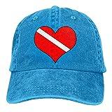 angwenkuanku Unisex Baseball Cap Baumwolle Denim Hut Dive Flag Herz verstellbare Snapback Hunting Cap wunderschöne 9511