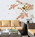 Uberlyfe Black And Yellow Birds On Flowering Branch Wall Sticker Size 3 (Wall Covering Area: 63Cm X 108Cm) - Ws-000771