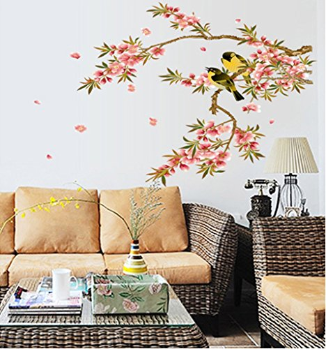 UberLyfe Black and Yellow Birds on Flowering Branch Wall Sticker (Wall Covering Area: 63cm x 108cm) - WS-000771
