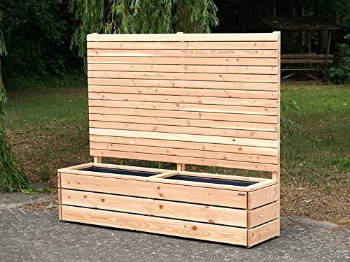 binnen-markt Pflanzkasten Holz Lang L mit Sichtschutz, Douglasie Natur