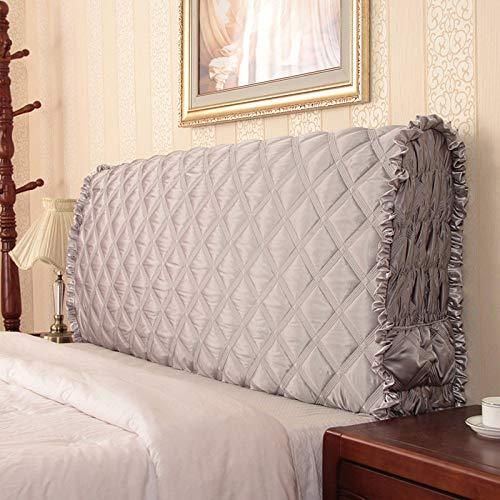lquide Silk Kopfteil Abdeckung Für Einzel- Doppel Kingsize-Bett Kopfteile Cover Waschbar,Grey-120*(8-30)*58cm (Für Kopfteile Betten)