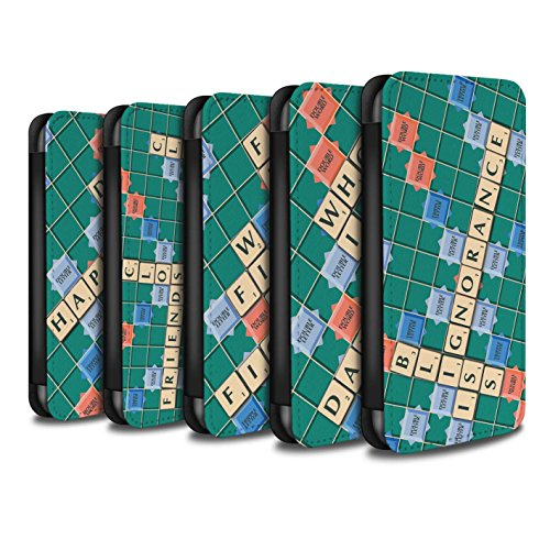 Stuff4 Coque/Etui/Housse Cuir PU Case/Cover pour Apple iPhone 7 Plus / Ignorance Béatitude Design / Mots de Scrabble Collection Pack 12pcs